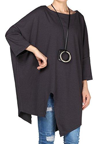Vogstyle Damen Rundhals Unifarben 3/4 Arm Asymmetrische Plus Size Bluse Pullover Tunika T-Shirt Grey L