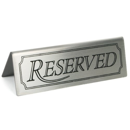 2X Reserved Sign - Set of 5 | Stainless Steel Restaurant Table Signs | Reserved Tent Signs for Restaurants, Hotels and cafes