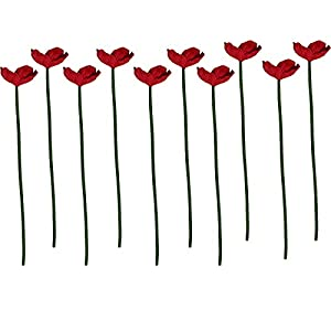 keebgyy 10 PCS Artificial Real Touch PU/ Latex Corn Poppies Decorative Silk Fake Artificial Poppy Flowers Faux Poppy Flower Boutique for Wedding Holiday Bridal Bouquet Home Party