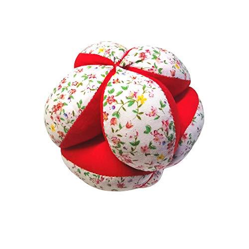 Montessori Kid Pelota para bebé hecha a mano de algodón orgánico, pelota Montessori con sonajero y cuerda, pelota de tela fácil de lavar, 12 cm, color rojo