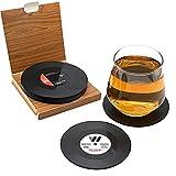 Posavasos de bebida, 6 piezas retro CD Record Coaster Set Round Cup Mat con protección antideslizante de mesa para café, té, cerveza, copa de vino, café, bar y bistro (negro)