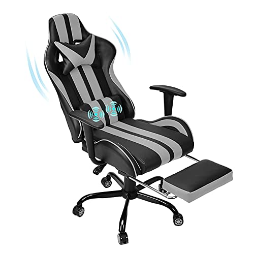 Ferghana Video Gaming Chair,PC Gaming Chair,Computer Chair, E-Sports Chair,Ergonomic Office Chair with Retractable Footrest and Adjustable Headrest and Lumbar Support(Grey)