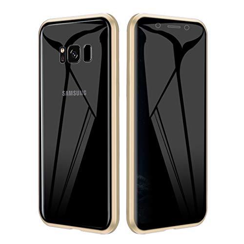 EUDTH Funda Samsung S8, Carcasa Adsorción Magnética Metal Caso Cobertura Anti espía Vidrio Templado Case Cover para Samsung Galaxy S8 (Oro)