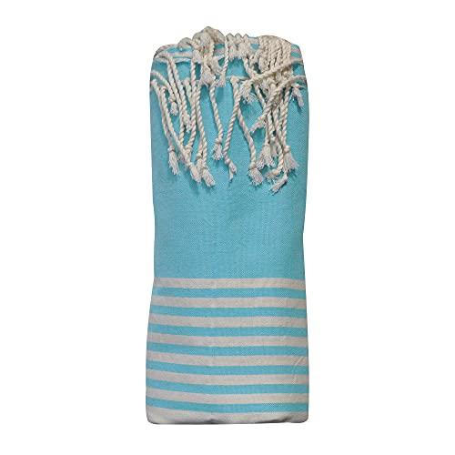 LES POULETTES Asciugamano Grande FUTA o Hammam Cotone Spiaggia Piccole Strisce Bianche 150 x 250cm - Turchese