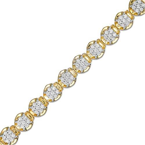 SLV Pulsera de tenis de 3,50 quilates T.W. de corte redondo transparente D/VVS1 con diamantes en forma de racimo en oro amarillo de 10 quilates chapado en plata 925