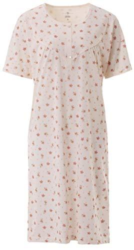 Zeitlos Camicia da Notte Donna Manica Corta a Fiori Donna, Farbe:off-White, Größe-Damen:2XL