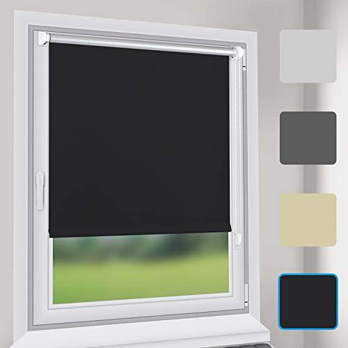 Sekey Verdunkelungsrollo Rollos - Verdunkelungsrollo Klemmfix ohne Bohren - 55cm x 130cm - Rollos für Fenster und Tür - Sonnenschutz - Schwarz