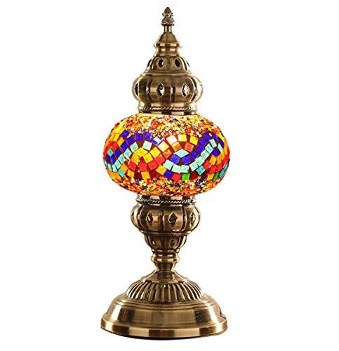GDLight Türkische Mosaik Tischlampe, marokkanische Laterne Schreibtischlampe Tiffany Stil handgefertigte Nachttischlampe für Wohnzimmer Schlafzimmer, 15-Zoll groß