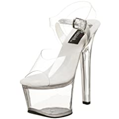 A high-stepping, ultra-sassy look comes from Pleaser's Sky pump. It has a clear vinyl upper with a buckle-secured ankle strap, plus a provocatively high platform and heel that'll put you head and shoulders above the rest.