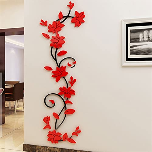 GHJGHJ Espejo acrílico Rosa Flor Pegatinas de Pared Sala de Estar Mural TV Fondo Pared decoración Wallpaper (Color : C21 Red Sticker)