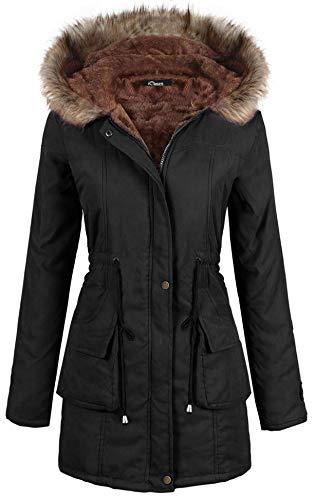 iClosam Women Parka Winter Long Coat Faux Fur Lined Anroak Jacket with Hood (Black, Small)