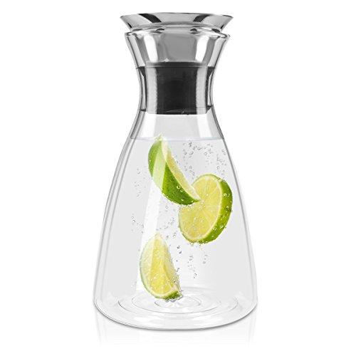 Navaris Jarra de cristal de 1L para agua - Botella de vidrio con tapa - Jarra de borosilicato - Garrafa para agua té zumo