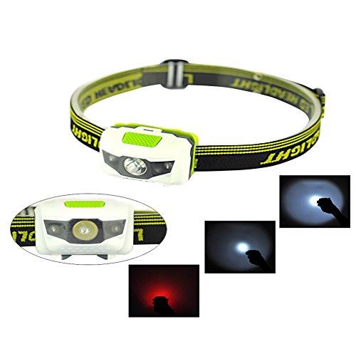 BulzEU LED Lámpara de Cabeza Head Linterna antorcha 3 llevó Agua y Choque Resistente con estroboscópio Rojo para la Pesca al Aire Libre de Senderismo