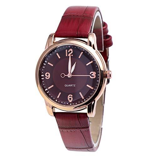 KingbeefLIU Reloj de moda para mujer con esfera redonda de bambú grano de imitación correa de cuero analógico de cuarzo rojo vino