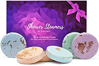 Cleverfy Aromatherapy Shower Steamers - Father's Day Variety Pack of 6 Shower Steamers with Essential Oils. Purple Set: Lavender, Menthol & Eucalyptus, Vanilla, Watermelon, Grapefruit, and Peppermint