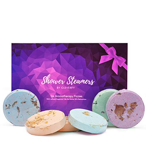 Cleverfy Shower Steamers - [6X] Aromatherapy Shower Bombs with Essential Oils for Relaxation. Set Includes Lavender, Eucalyptus, Vanilla, Watermelon, Grapefruit and Peppermint