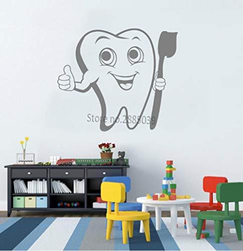 Muursticker 49x42 cm schattige positieve tandenborstel tandverzorging badkamer decor grijze applicatie kan Pvc behang verplaatsen, moderne waterdichte zelfklevende kunst creatieve DIY