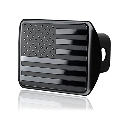 """Zone Tech Tactical USA American Flag Hitch Cover - Premium Quality Stainless Steel Black Metal American Flag Emblem Trailer Plug Hitch Cover -US Patriotic Pledge of Allegiance - Fits 2"""" Receivers"""