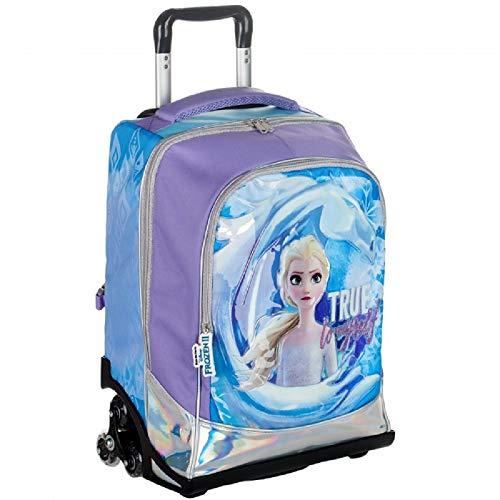 G.P. Zaino Trolley Scuola Compatibile con Frozen 2 Elsa Regno di Ghiaccio con 3 Ruote 47x34x23 cm