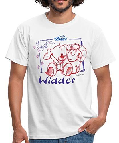 Diddl Sternzeichen Widder Teddy Pimboli Männer T-Shirt, XL, Weiß