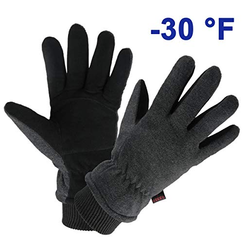 OZERO Cycling Gloves Deerskin Leather Winter Warm Glove Thermal Fleece for Snow Skiing Driving Bike Riding Hiking Runing Hand Warmer in Cold Weather for Women and Men Large Gray