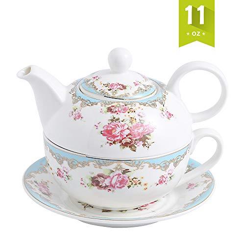 Malacasa, Serie Sweet.Time, Tea for One Servizio da tè in Porcellana Bianca Crema 4 Pezzi Fiore da tè con 1 Teiera da 17 cm (con Coperchio), 1 Tazza da 14 cm e 1 Piattino da 15,2 cm