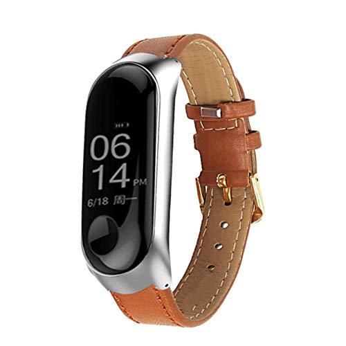Banda De Reloj Para MI Band6 / 5/4 Strap Watch Correa De Muñeca De Cuero Para MI BAND 4 Accesorios Pulsera MI Band5 / 4/3 Correa 10688 (Color : Brown B, Size : Miband3)