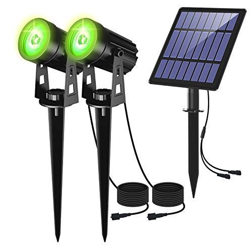Gartenleuchte Solar, CORESLUX 2 Stück Solarstrahler Solarlampen für garten, IP65 Wasserdicht LED Solarlampe, Auto-on/off, 3 Meter Kabe, 6000K LED Solarstrahler für Bäume,Sträucher,Gartenweg(Grün)