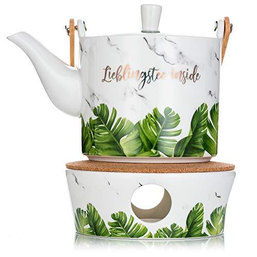 Wolfinau Küchen Teekanne mit Stövchen Set, Porzellan Teekanne, 700ml, Teekanne Keramik mit Bambus-Holzgriff