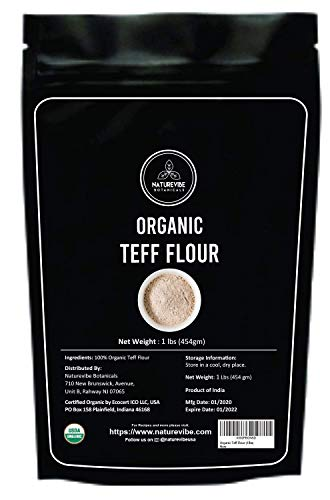 Naturevibe Botanicals Organic Teff Flour, 1lb | Non-GMO and Gluten Free (16 ounces)