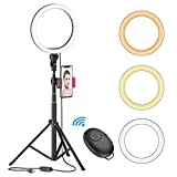 8' LED Selfie Ring Light for Live Stream/Makeup/YouTube Video, Dimmable Beauty Ringlight with Tripod Stand and Phone Holder Compatible with iPhone/Android