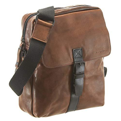 Bugatti Smoky Umhängetasche Medium für Herren Schultertasche Leder, Messenger Bag Kuriertasche, Braun