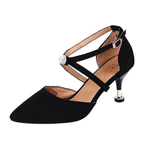 Sandales à Talons Hauts 5CM, Manadlian Femmes Escarpins de Sangle Croisée Chaussures à Haut Talon Mariage Soirée Fête Souliers Pointus Chaussons