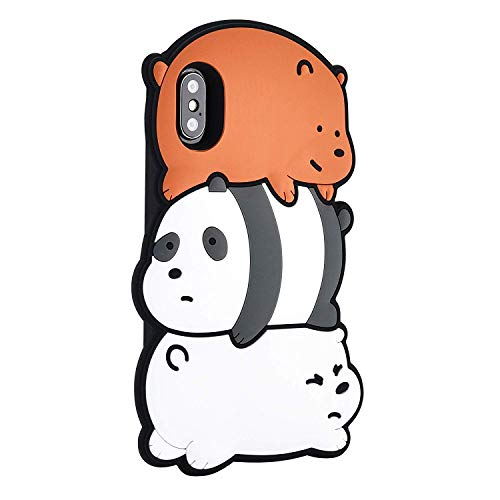 Silicone 3D Cartoon Hero Animal Animated Cute Pig We Bare Bears Case for iPhone 6s 7 8 Plus X Xr Xs Max Fun Kawaii Soft Rubber Cover Case Kids Girls Teens Boys (Bare Bear, iPhone 12 Pro Max 6.7')
