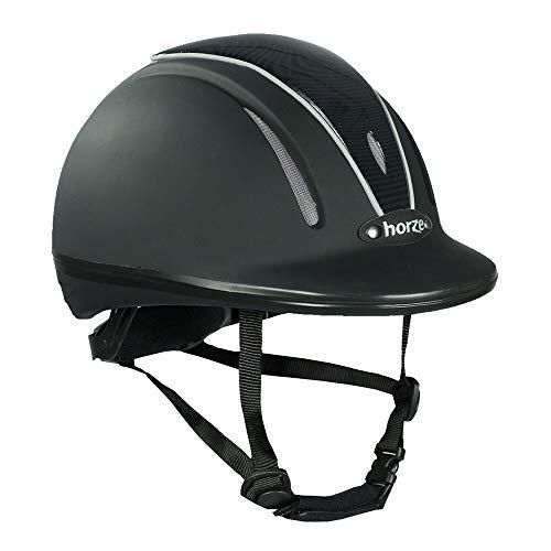 horze Pacific Reithelm Verstellbarer Helm VG1 Defenze, Schwarz/Schwarz(BL/BL), L-XL
