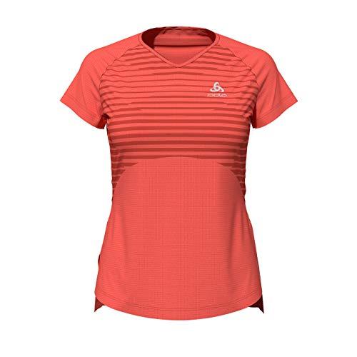 Odlo Ceramicool Baselay Crew Neck T-Shirt Femme, Corail Vif-imprimé SS20, s