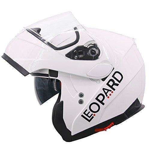 Leopard LEO-838 Doppelvisier Klapphelm Integralhelm mit Sonnenblende Motorradhelm #3 Weiß XS (53-54cm) Damen und Herren ECE Genehmigt