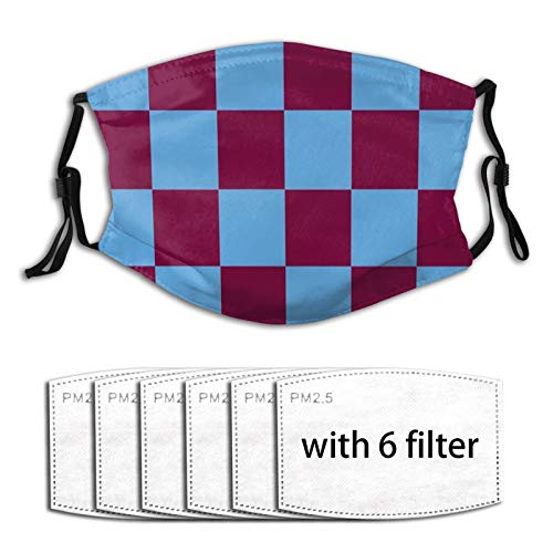 Aston Villa Claret And Blue Checkered Fan Flag Adjustable Earloop Face Mouth Anti Pollution Washable With 6 Filters