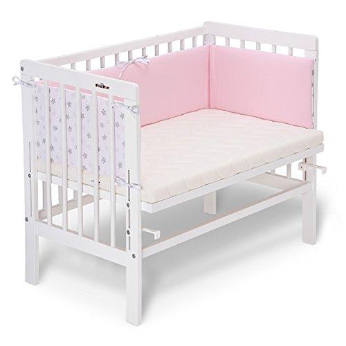 FabiMax 3903 Beistellbett BASIC weiß, inkl. Matratze COMFORT und Nestchen Sterne klein, rosa