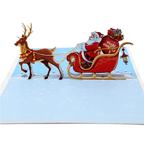 Pop Up Card 3D Greeting Cards Reindeer Sleigh Christmas Card Greeting Card with Envelope-Handmade Card Craft with 5d View Christmas Card