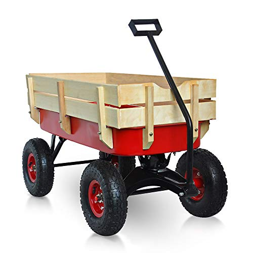 """fansmart 39"""" Pull -Along Wagon for Kids with Pulling Wood Railing Panels Outdoor Wagon 10"""" All Terrain Air Tires 330 lbs Capacity for Beach, Garden, Sporting Events, Park(Red)"""