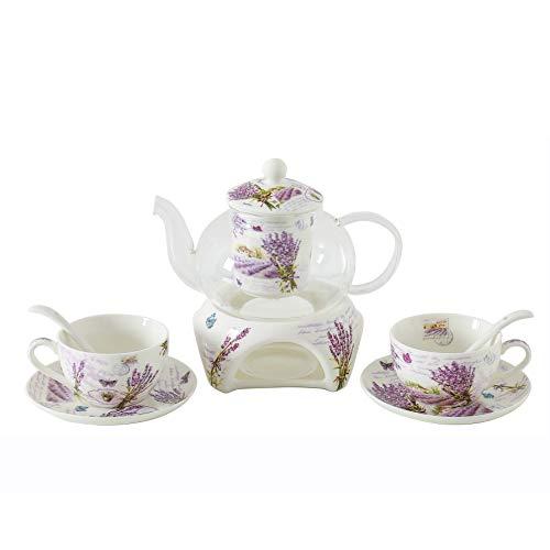 6 Stück Europäischen Blumen Tee Set, Lavendel Muster Bone China Tee Set Service Kaffee Set, Beheizte Glas Teekanne, Für Geschenk Und Haushalt, Hochzeit