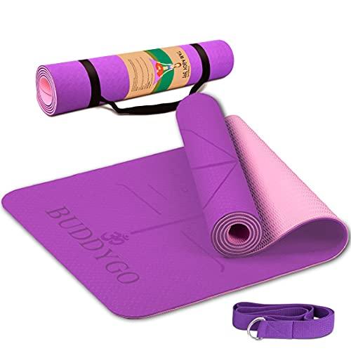 BUDDYGO Tappetino da Yoga, Tappeto da Yoga Ecologico con Cinturino di TPE e Cinghia Yoga,...
