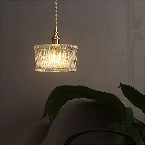 FJX Lámpara de luz colgante de latón vintage de 2 piezas, lámpara colgante de pantalla redonda de vidrio, iluminación de metal Art Deco para la isla de la cocina, sala de estar