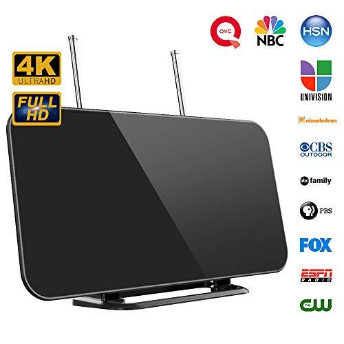 Antena TV, Antena TV Interior HDTV Digital con Amplificador de Señal Inteligente Rango de Recepción 50-80 Millas, 3 M, Soporte Más Canales de TV Gratis 1080P 4K y Todos los Tipos de TV