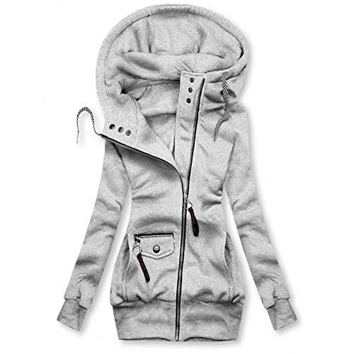 Auifor Damen Kapuzenpullover, Hoodie Kapuzenjacke Sweatjacke lang Mantel Sweatshirt Zip Herbst Winter Jacke Mit Kapuze Lange Gefüttert (Grau,Small