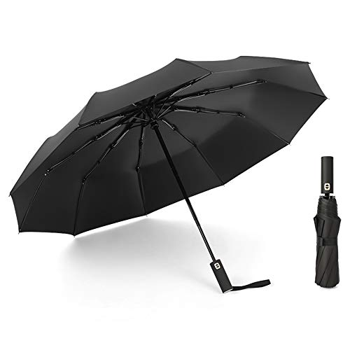 JOURNOW Windproof Travel 10 Ribs Umbrella with 210T Heavy Coating (Black)