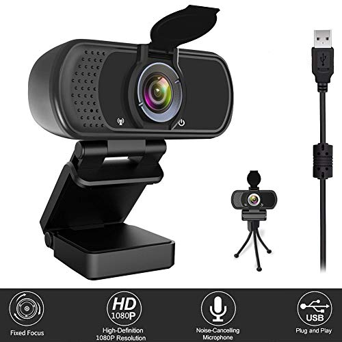Webcam with Microphone, Computer Camera 1080P Webcam USB Streaming PS4 Gaming Webcam HD Web Cam for Desktop PC, Laptop, MAC