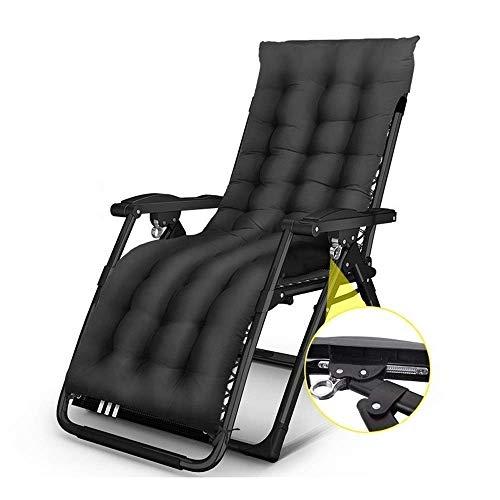 FTFTO Bureau Life Chaise Longue de Patio inclinable avec Coussins Chaises pour Personnes Lourdes Transats extérieurs pliants Chaise portative de Camping sur pelouse de Plage (Couleur: Noir)