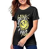Yongjian Blink 182 Women's Happy Face Logo Sleev T-Shirt Shirt Black